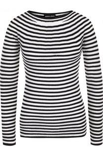 Приталенный пуловер в полоску с круглым вырезом Giorgio Armani