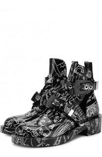 Кожаные ботинки Creepers с принтом Balenciaga