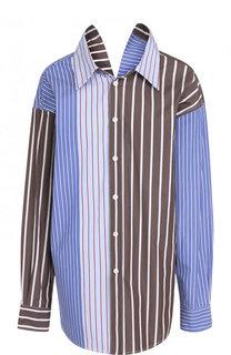 Хлопковая блуза свободного кроя в полоску Marni