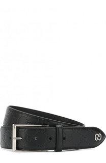 Кожаный ремень с тиснением Signature и металлической пряжкой Gucci