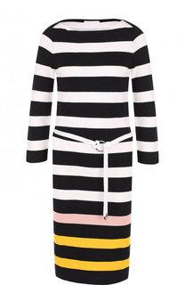 Приталенное вязаное платье-миди с поясом BOSS
