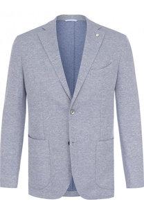 Однобортный пиджак из смеси хлопка и льна L.B.M. 1911