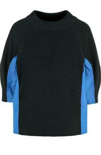 Хлопковый пуловер с укороченным рукавом и круглым вырезом Sacai