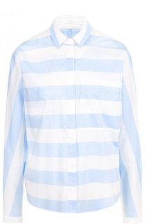 Хлопковая блуза свободного кроя в полоску BOSS
