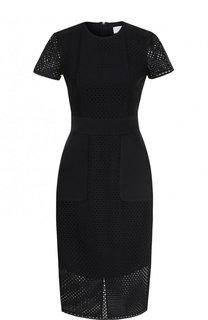 Приталенное платье-миди с перфорированными вставками BOSS