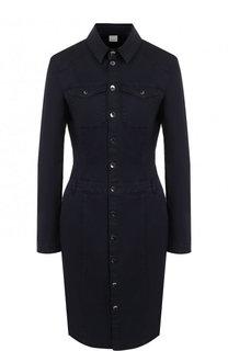 Приталенное шелковое платье-рубашка BOSS