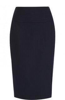 Шерстяная юбка-карандаш в полоску BOSS