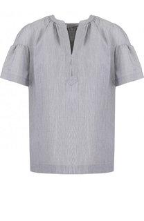 Хлопковая блуза свободного кроя с коротким рукавом BOSS