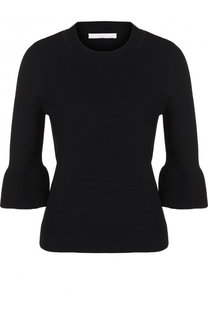 Однотонный шерстяной пуловер с укороченным рукавом BOSS