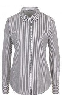 Приталенная хлопковая блуза в полоску BOSS
