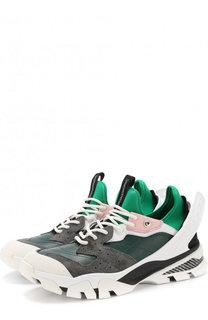 Комбинированные кроссовки с декоративной отделкой CALVIN KLEIN 205W39NYC