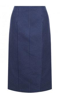 Хлопковая юбка-миди в полоску Fendi