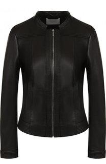 Приталенная кожаная куртка с воротником-стойкой BOSS