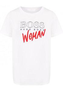 Хлопковая футболка с контрастной надписью BOSS