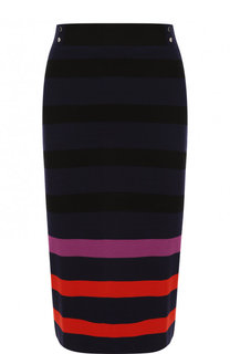 Шерстяная юбка-миди с контрастной отделкой BOSS