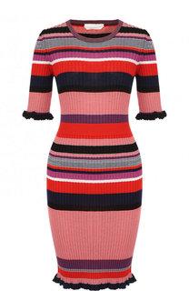 Вязаное приталенное платье с коротким рукавом BOSS