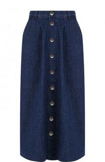 Джинсовая юбка-миди с потертостями BOSS