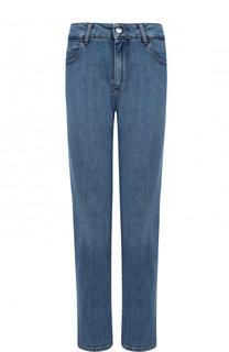 Укороченные джинсы прямого кроя с потертостями BOSS