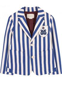 Однобортный пиджак из хлопка в полоску с нашивкой Gucci