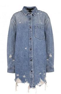 Удлиненная джинсовая куртка свободного кроя с потертостями Denim X Alexander Wang