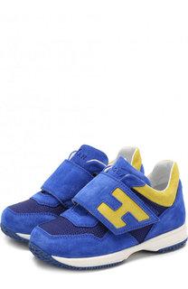 Замшевые кроссовки с застежками велькро Hogan