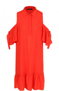 Однотонное платье из вискозы с разрезами на плечах Pietro Brunelli