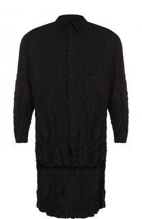 Удлиненная рубашка асимметричного кроя Yohji Yamamoto
