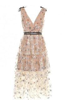 Многоярусное платье-миди с завышенной талией self-portrait