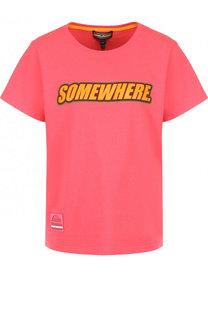 Хлопковая футболка с контрастной надписью Marc Jacobs