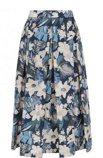 Хлопковая юбка-миди с цветочным принтом Van Laack
