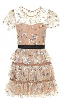 Приталенное мини-платье с контрастной вышивкой self-portrait