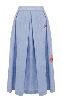 Хлопковая юбка-миди с вышивкой в виде бабочек Van Laack