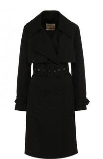 Однотонное пальто с поясом и погонами Roberto Cavalli