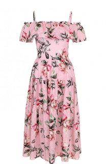 Приталенное хлопковое платье-миди с принтом Weill