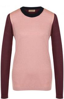 Пуловер с круглым вырезом из смеси шелка и кашемира Burberry
