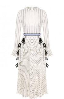 Приталенное платье-миди с плиссированной юбкой self-portrait