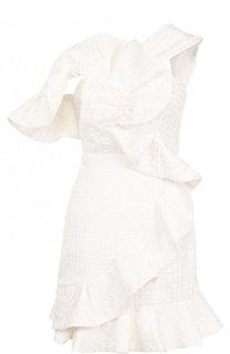 Приталенное кружевное мини-платье с оборками self-portrait
