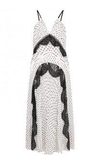 Приталенное платье-миди с V-образным вырезом self-portrait