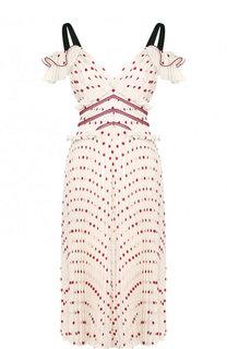 Приталенное плиссированное платье-миди в горох self-portrait