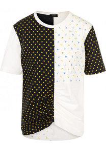 Хлопковая футболка с драпировкой и принтом Joseph