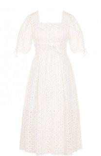 Кружевное платье-миди с завышенной талией self-portrait