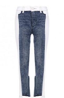 Укороченные джинсы с контрастными вставками Paige
