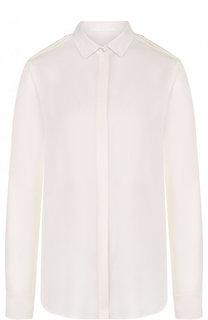 Однотонная шелковая блуза с погонами BOSS