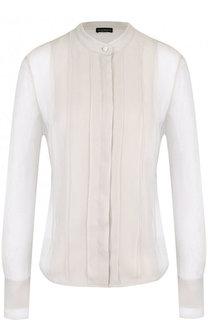 Полупрозрачная шелковая блуза с воротником-стойкой Emporio Armani