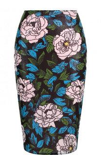 Юбка-карандаш с цветочным принтом и пайетками Diane Von Furstenberg