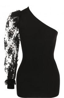 Топ асимметричного кроя с кружевным рукавом Givenchy