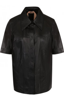 Однотонная кожаная блуза с коротким рукавом No. 21
