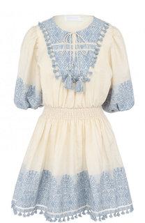 Приталенное хлопковое мини-платье Zimmermann