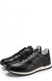 Кожаные кроссовки на шнуровке с отделкой из кожи крокодила Kiton