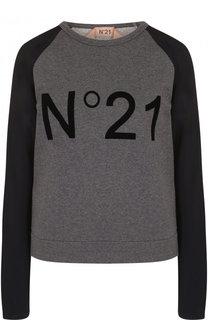 Свитшот с круглым вырезом и логотипом бренда No. 21